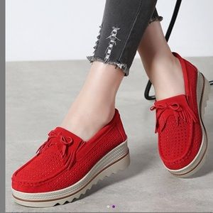 NWT red perforated suede platform loafers